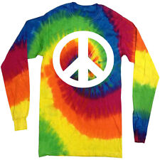 Peace tie dye shirt long sleeve tie dyed tee shirt for men peace sign tie dye