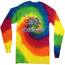 California bear tie dye shirt for men cali bear california flag tie dyed tee