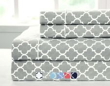 Full Size Bed Sheet Set- 4PC Printed Meridian 100% Cotton Percale Weave Sheets