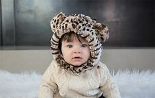 Eskimo Kids Baby Faux Fur Cheetah Hat Sizes 3 month to 10 years Tan Brown Infant