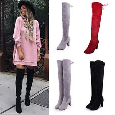 Fashion Women Over Knee Shoes High Heel Winter Autumn Slip-on Lace-up Boots