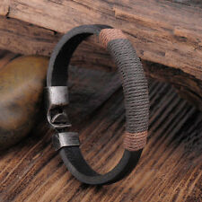 Surfer Mens Vintage Hemp Wrap Leather Wristband Bracelet Cuff Black Brown CHI