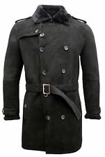 Men's Black Military Double Breasted Real Sheepskin Suede Pea Coat