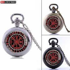 Retro Viking Quartz Steampunk Pendant Pocket Watch Vintage Necklace Chain Gift