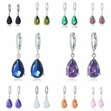 womens White gold filled lucky rainbow crystal dangle Drop earrings earrings