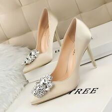 Korean Style Heels Sexy Thin Shallow Mouth Pointed Shining Diamond Buckle Shoes