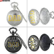 Antique DAD Quartz Vintage Pendant Pocket Watch Chain Necklace Retro Father Gift