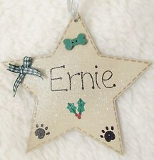 HANDMADE PERSONALISED PET DOG NAME CHRISTMAS TREE DECORATION STAR PAW HOME GIFT