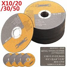 10 30 50 Stainless Steel Thin Metal Cutting Blade Discs Angle Grinder 115mm 4.5""