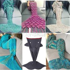 USA Super Soft Warm Hand-Crocheted Mermaid Tail Sofa Blanket Sleeping Bag Adult