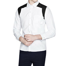 Men Point Collar Long Sleeves Contrast Color Slim Fit Casual Shirt