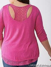LANE BRYANT ~ NEW! Plus 26 28 ~ PINK or MINT! Layered Look RACERBACK Tee 3X 4X