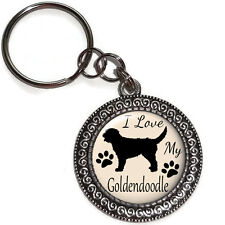 Key Ring  Purse Charm Dog I LOVE MY GOLDENDOODLE Antique Silver Charm KEY CHAIN