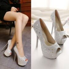 Shiny Rhinestone Platform Stilettos High Heels Peep Toe Party Pumps Women Shoes
