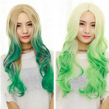 Fashion Womens Curly Colorful Wigs Cosplay Anime Bangs Party Wavy Full Hair Wigs