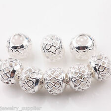 Hot 10/50Pcs Bronze Silver Plated Chinese Knot Beads DIY Jewelry Making 10mm