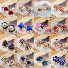 New Fashion Women Girls Crystal Rhinestone Opal Flower Ear Stud Earrings Jewelry