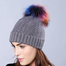Women Cute Colorful Raccoon Fur Pom Ball Bobble Knit Ski Hat Winter Warm Cap