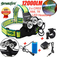 12000LM 3x CREE XML T6 LED Bicycle Head Light Rehargeable Headlamp Torch LOT