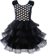 Girls Dress Ruffles Tulle Tiered Dress Sequin Party Princess Age 4-12 Years