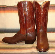 Mens Vintage Lucchese Brown Exotic Handmade Cowboy Boots 10.5 C Excellent Cond
