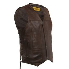 MENS MOTORCYCLE BROWN COWHIDE LEATHER VEST w/ 10 POCKETS & SIDE LACES - DA97