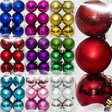 12 Christmas 7cm Metallic Glitter Hanging Baubles Tree Ornaments Decorations