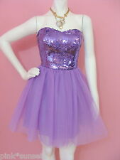 BETSEY JOHNSON EVENING SEQUINS TULLE STRAPLESS PURPLE DRESS PROM PARTY $418 4 6