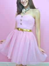 Betsey Johnson PINK POW POOF STRAPLESS DRESS COCKTAIL PROM PARTY WEDDING