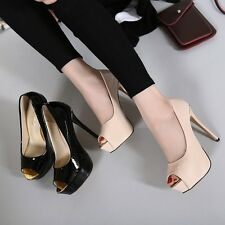 Size4-8 Peep Toe Platform High Heels Lady Pumps Stiletto PU OL Party Women Shoes