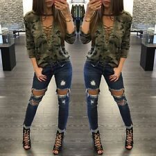 Hot Fashion Sexy Womens Tops V-neck Long Sleeve Camouflage Blouse Casual T-Shirt