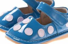 Discontinued Toddler Girl's Leather Squeaky Shoes Blue Patent with Pink  Dots