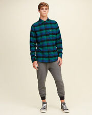 NWT Hollister by Abercrombie Mens Plaid Flannel Shirt Green/Navy/Blue 100%Cotton