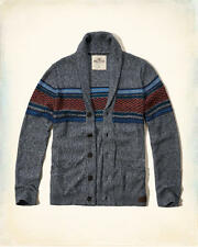 NWT Hollister by Abercrombie&Fitch Mens Patterned Shawl Cardigan Sweater Navy S
