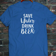 SAVE WATER DRINK BEER DRUNK FUNNY DROUGHT HUMOR Mens Blue T-Shirt