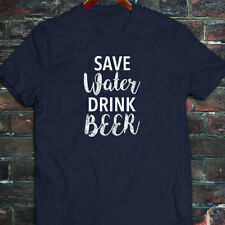 SAVE WATER DRINK BEER DRUNK FUNNY DROUGHT HUMOR Mens Navy T-Shirt