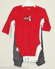Christmas Carters Cool Little Dude Infant Boys Layette Set of 3 (SIZE 3 or 6 Mo)