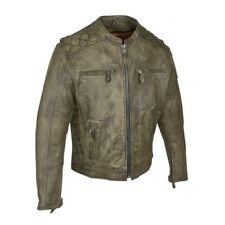 MENS MOTORCYCLE NAKED BROWN LEATHER RACER JACKET w/ CONCEALED GUN POCKETS - DC1