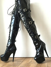 15cm Platform  60cm Mid-Thigh Laceup Goth Punk Pinup Cosplay Fetish Boots Patent