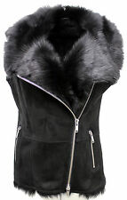 Women's Luxurious Short Black Suede Toscana Fur Sheepskin Gilet