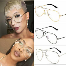 4 Colors Unisex Retro Big Round Metal Frame Sunglasses Clear Lens Glasses Geek