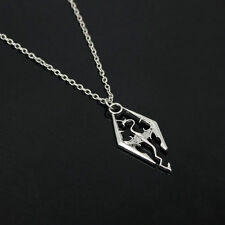 Vintage Cool The Elder Scrolls Logo Skyrim Dragon Pendant Charm Necklace Chain