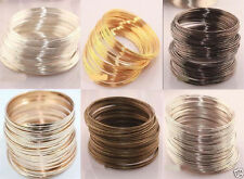 100 Loops Silver/Gold Plated Alloy Memory Steel Wire Cuff Bangle Bracelet Gifts