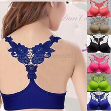 Sexy Womens Ladies Front Closure Lace Racer Back Push Up Seamless Bra Cup B New