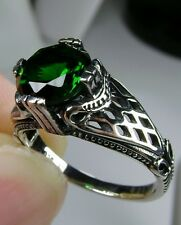 *Green Emerald* Solid Sterling Silver Art Deco Bow Filigree Ring {MTO/Custom}