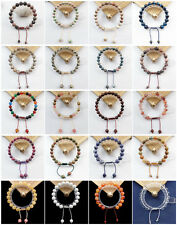 """8mm Or 10mm Mixed Stone Hand-knitted Round Beads Adjustable Bracelet 7.5 """" JK86"""