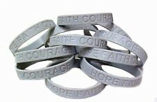 Silver Gray Awareness Bracelets 12 Piece Lot Silicone Wristband Cancer Cause New