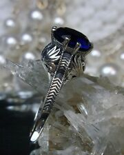 Victorian *Sapphire* Sterling Silver Crown Filigree Ring Size: {Made To Order}