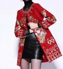 Stylish Womens ladies Embroidered Chic Long coat Gold stitched wool blend Dress