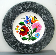 SIGNED Hungarian folk art hand painted Kalocsa floral gray marbled WOODEN PLATE